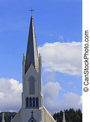 Church Steeple - Church steeple with blue sky and clouds...