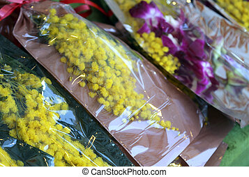 yellow mimosa and orchid for womens day on 8 March