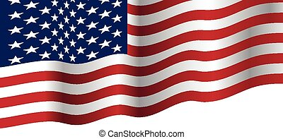 USA flag waving vector
