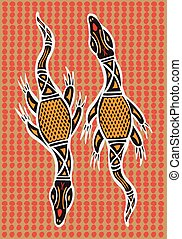 Aboriginal arts. - Aboriginal arts, lizards.