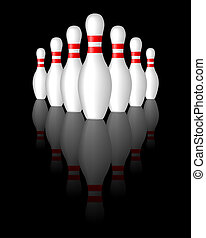 bowlingpins - illustration of white bowling pins over a...