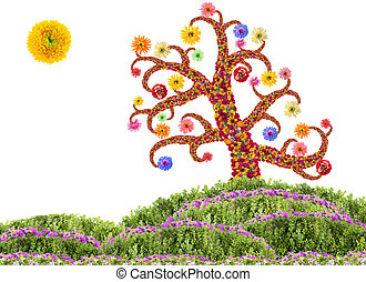 Easter Flowers Tree concept - Easter Tree made from fresh...