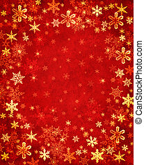 Snowflakes on Red - Snowflakes on a textured red background.
