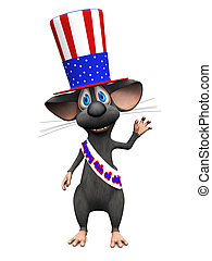 Smiling cartoon mouse celebrating 4th of July or...