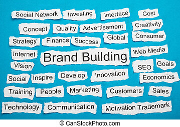 Word Brand Building On Piece Of Torn Paper - Word Brand...