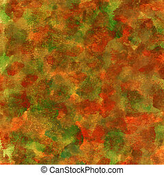 red, green, orange patchy texture - fall colors (red, green,...