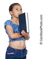 studying with a book - adorable girl studying with a book a...