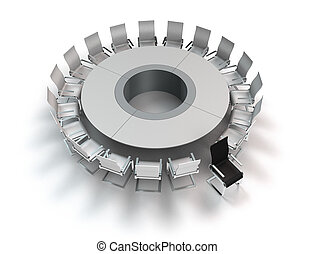 opposition - conceptual 3D rendering showing a meeting table...