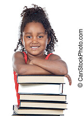 adorable girl student a over white background