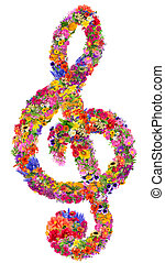 Floral clef - Abstract sign of a musical treble clef made...