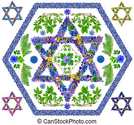 Floral isolated David star - The symbol sign of Israel and...