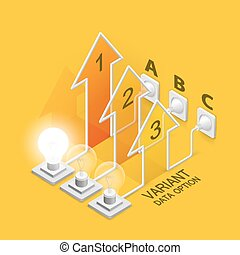 Lamp plugged in arrow art. Vector illustration