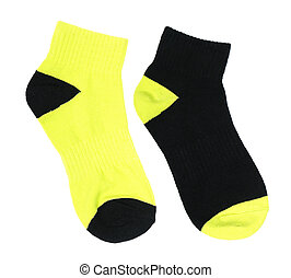 Two-colored socks - Pair of two-colored sock isolated on...