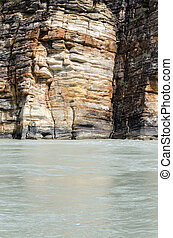 Athabasca River - layered rocks on the Athabasca River in...