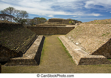 Monte Alban Oaxaca Mexico ancient ball game stadium huego de...