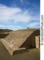 Monte Alban Oaxaca Mexico ancient ball game stadium one...