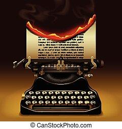 Old typewriter - Od typewriter with a burning paper. Writing...