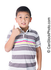 Asian boy giving you thumbs up over white background,...