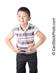 Strong Asian boy showing off his biceps flexing muscles his...