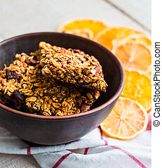 Citrus bars granola with oatmeal, seeds, nuts and dried fruits