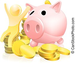 Piggy bank person success with money concept of a happy...
