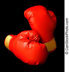 Red Boxing Gloves - This is a closeup of a pair of boxing...