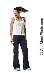 woman in tracksuit moving the hair isolated on white...