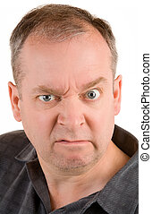Grumpy Middle Aged Man - This is a portrait of a grumpy...