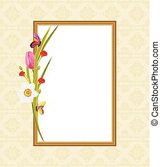 Decorative frame with flowers - Decorative frame with spring...