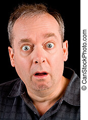 Shocked - The face of a man being afraid or shocked of...