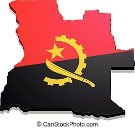 Map Angola - detailed illustration of a map of Angola with...