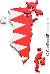 Map Bahrain - detailed illustration of a map of Bahrain with...