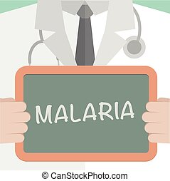 Malaria - minimalistic illustration of a doctor holding a...