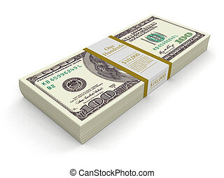 Pile of Dollars Image with clipping path