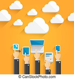Cloud devices with hands art. Vector illustration
