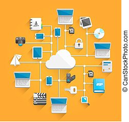 Cloud network icon flat art Vector illustration