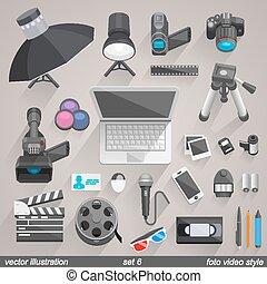 vetorial, foto, vídeo, style., jogo, 6,