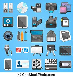 Flat icon set foto video Vector illustration art