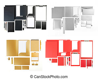 Set of corporate identity templates on white - Set of...