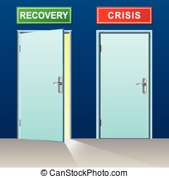 recovery and crisis doors - illustration of recovery and...