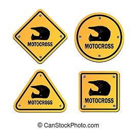 motocross - yellow signs - suitable for illustrations