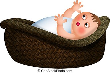 Baby in a Basket - A cartoon illustration of a baby lying in...