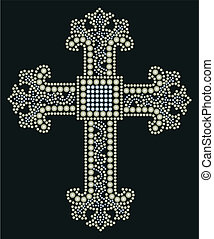 shiny cross stone beaded design