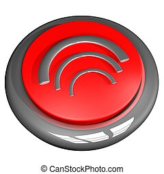 Wi fi button - Wi fi symbol over button, 3d render, isolated...