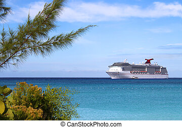 Tropical ship - Cruise ship in the clear blue Caribbean...