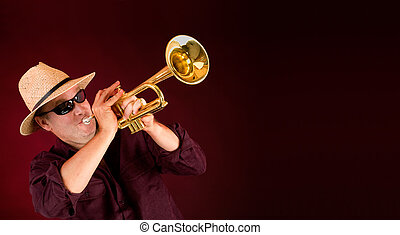 Trumpet Player Trumpeting an Announcement on a Banner -...
