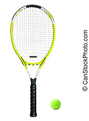 Tennis Racquet and Ball - This is a close-up of a tennis...