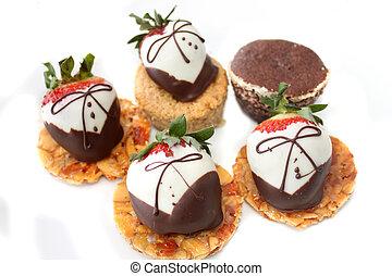 Chocolate covered strawberries - White and dark chocolate...
