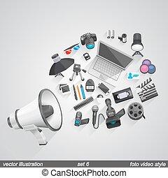 megafone, foto, vídeo, style., jogo, 6,