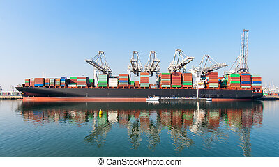 Container ship - Moored container ship